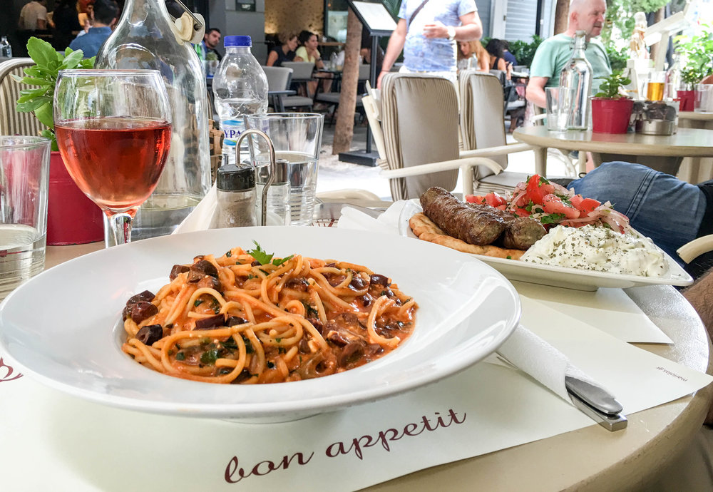 Greek Pasta with tomato and olives, Café Amoroso, Athens, Greece