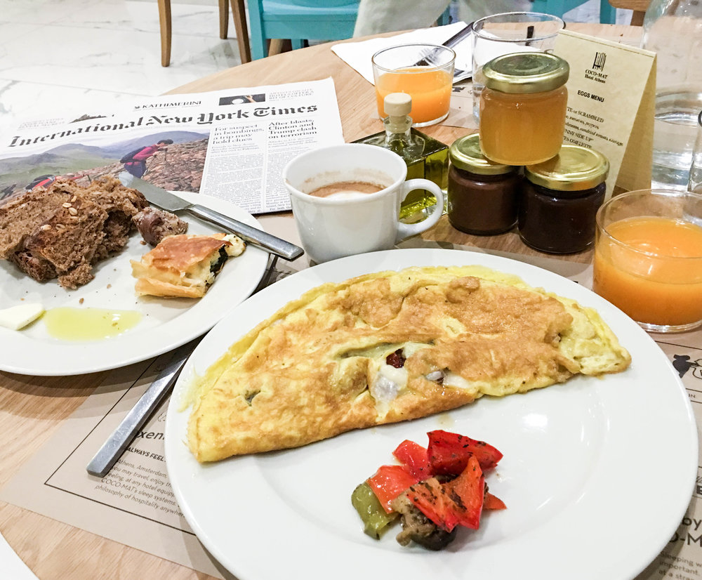 Omelette and continental breakfast treats at the Coco-Mat Hotel, Athens, Greece