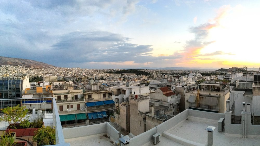 The view from the roof of the Coco-Mat Hotel, Athens, Greece
