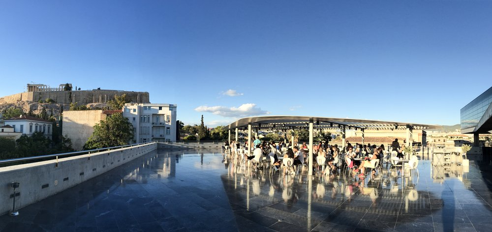 The café at the Acropolis Museum, Athens, Greece (note the Parthenon, visible in the upper left!)