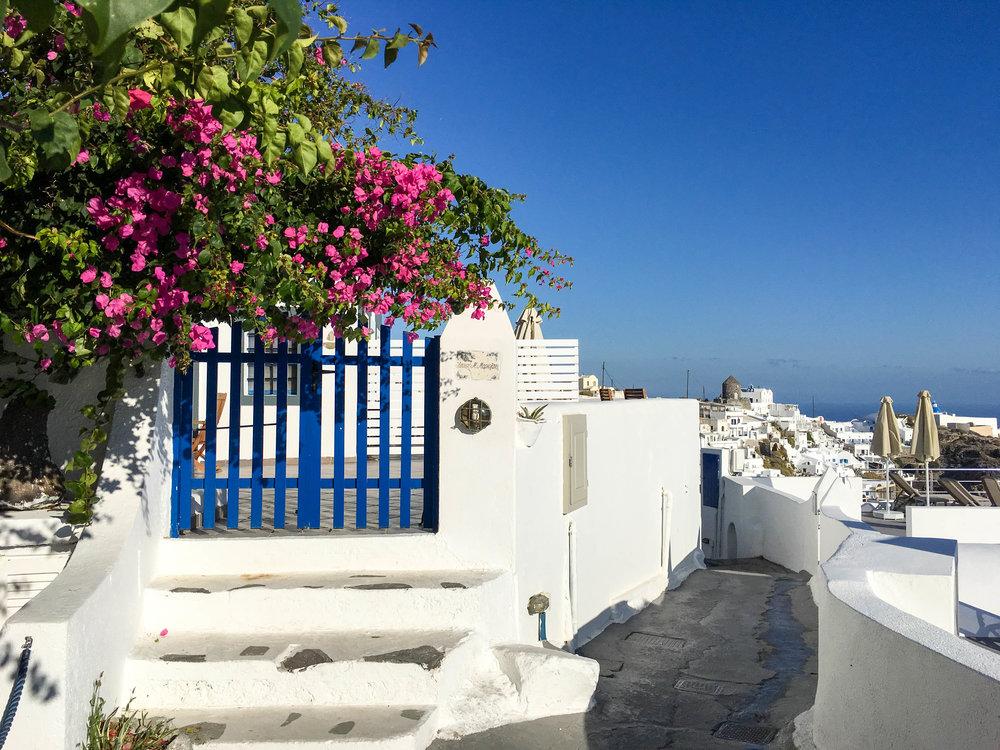 Along the path from Imerovigli to Fira, Santorini, Greece