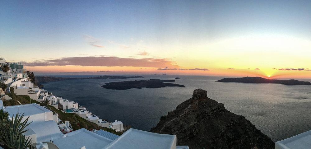 Sunset view from Kapari Natural Resort, Santorini, Greece