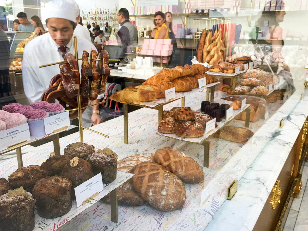 Breads, cupcakes, muffins, and croissants, Bottega Louie, Downtown Los Angeles, CA
