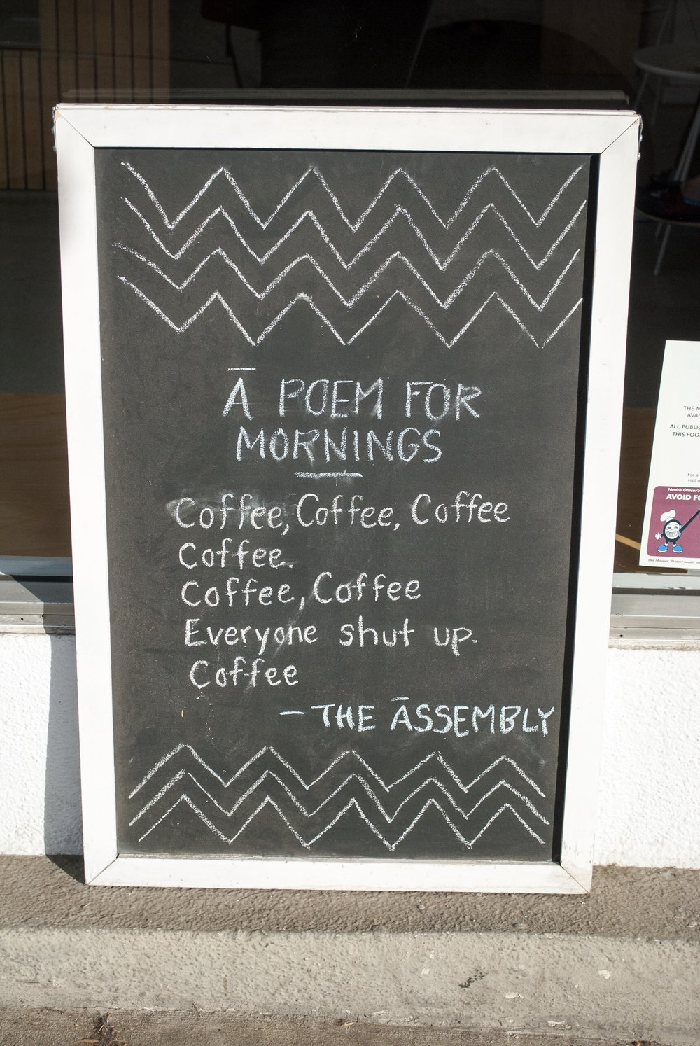 The best poem.  The Assembly, West Hollywood, CA