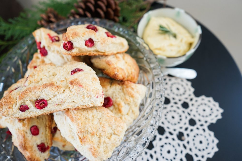 Cranberry Scones with Herb Butter