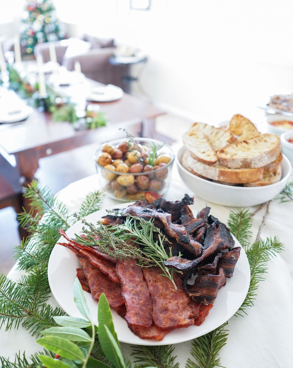 Shortcut sides: turkey bacon, blueberry bacon, and roasted baby potatoes