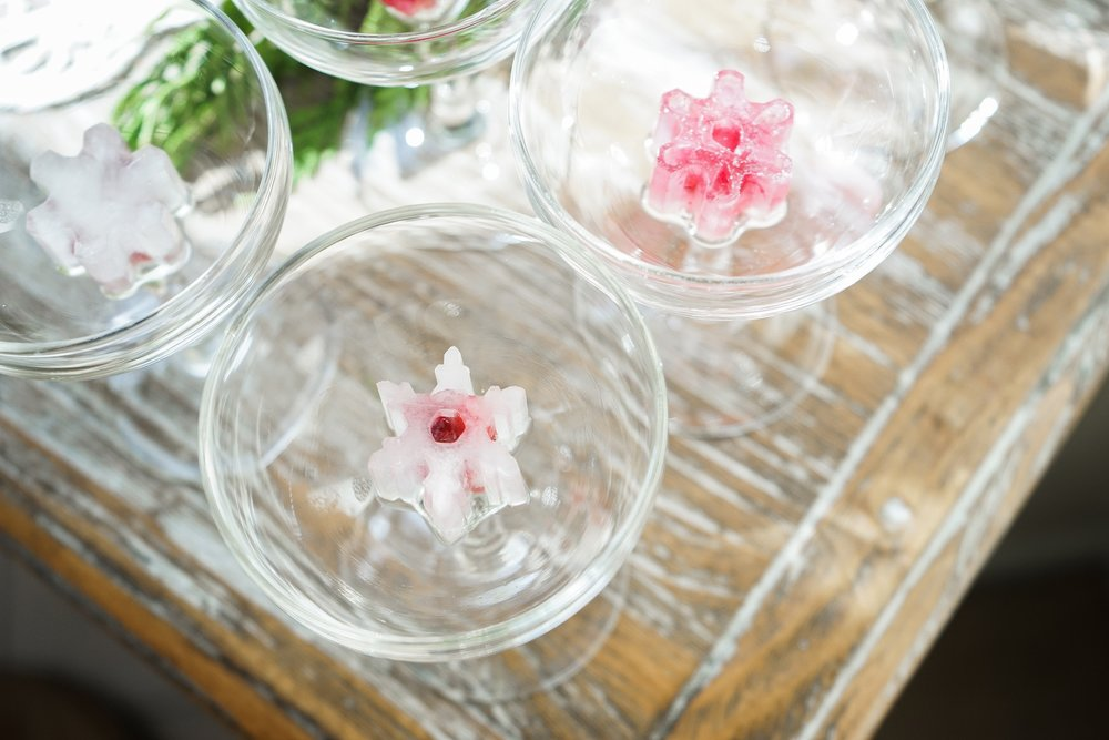 Snowflake Ice Cubes with Pomegranate Seeds