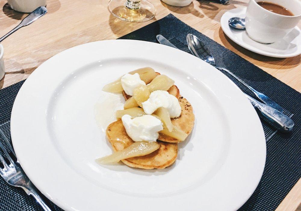 Pancakes at breakfast, Thyme, Southrop