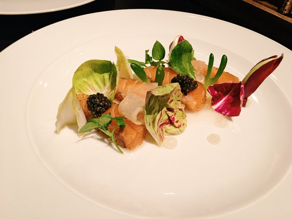Artfully plated first course at Dinner by Heston Blumenthal, London