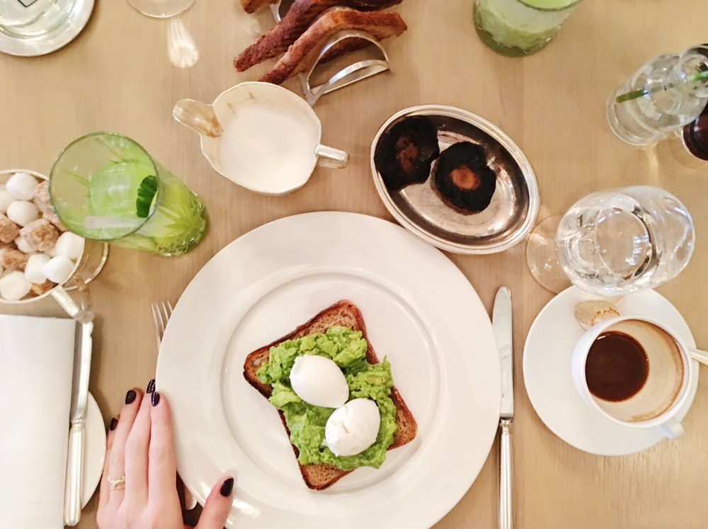 Avocado and Poached Eggs on Toast and a side of mushrooms, Berners Tavern, London