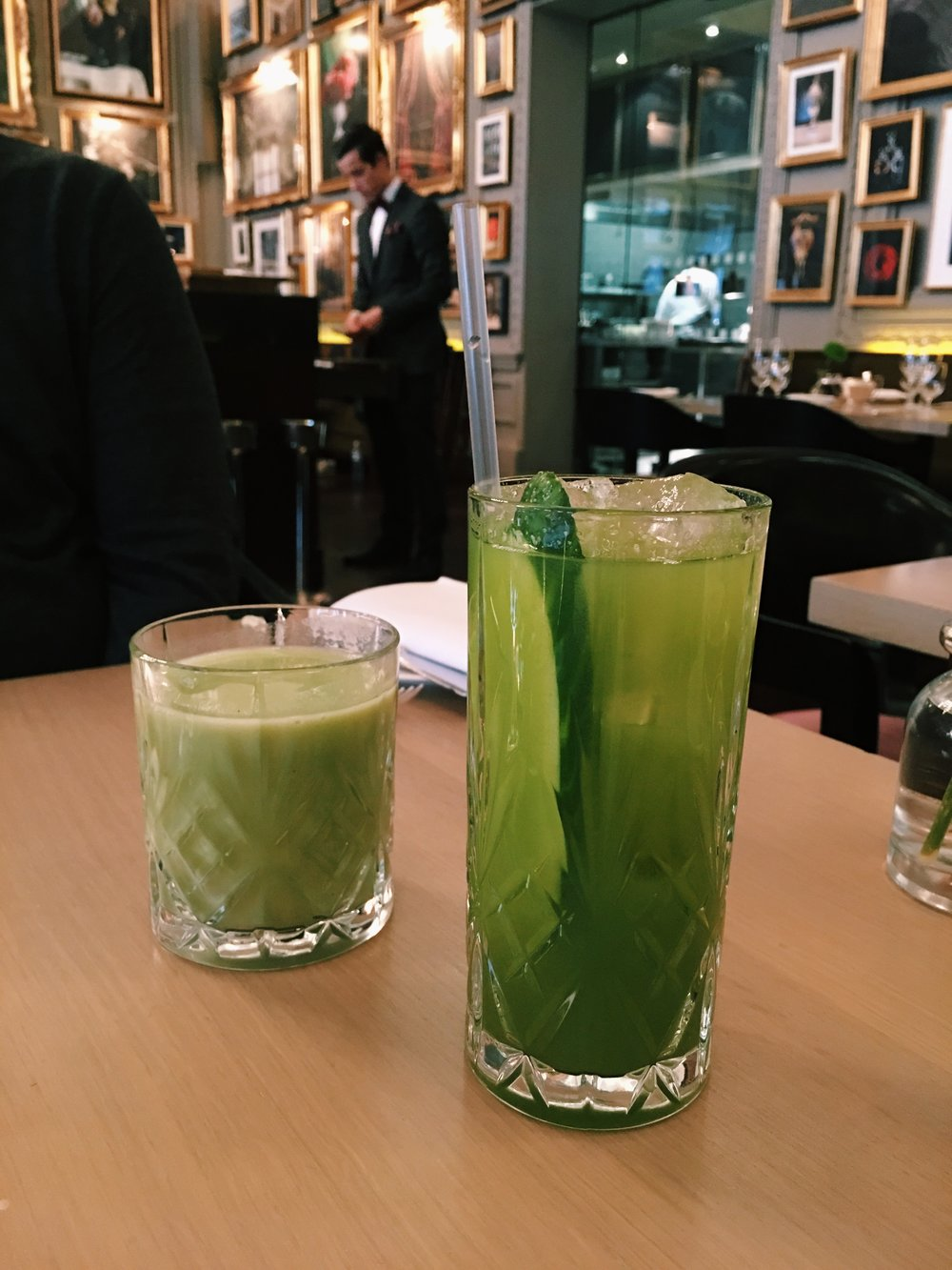 Spinach Banana Smoothie (left) and Kale Apple Cucumber Lime Juice (right), Berners Tavern, London