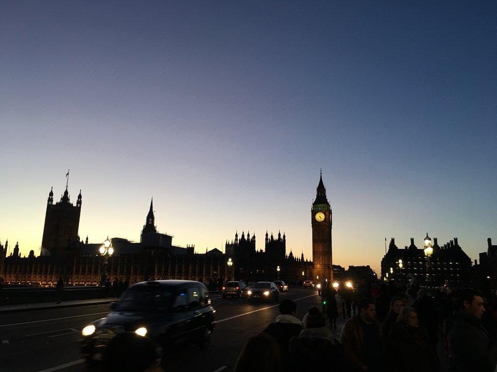 Elizabeth Tower (aka Big Ben) at sundown, London