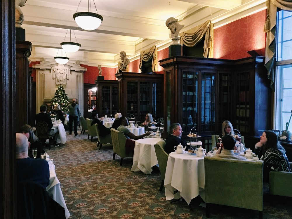 Inside the Library Lounge during Afternoon Tea service, London
