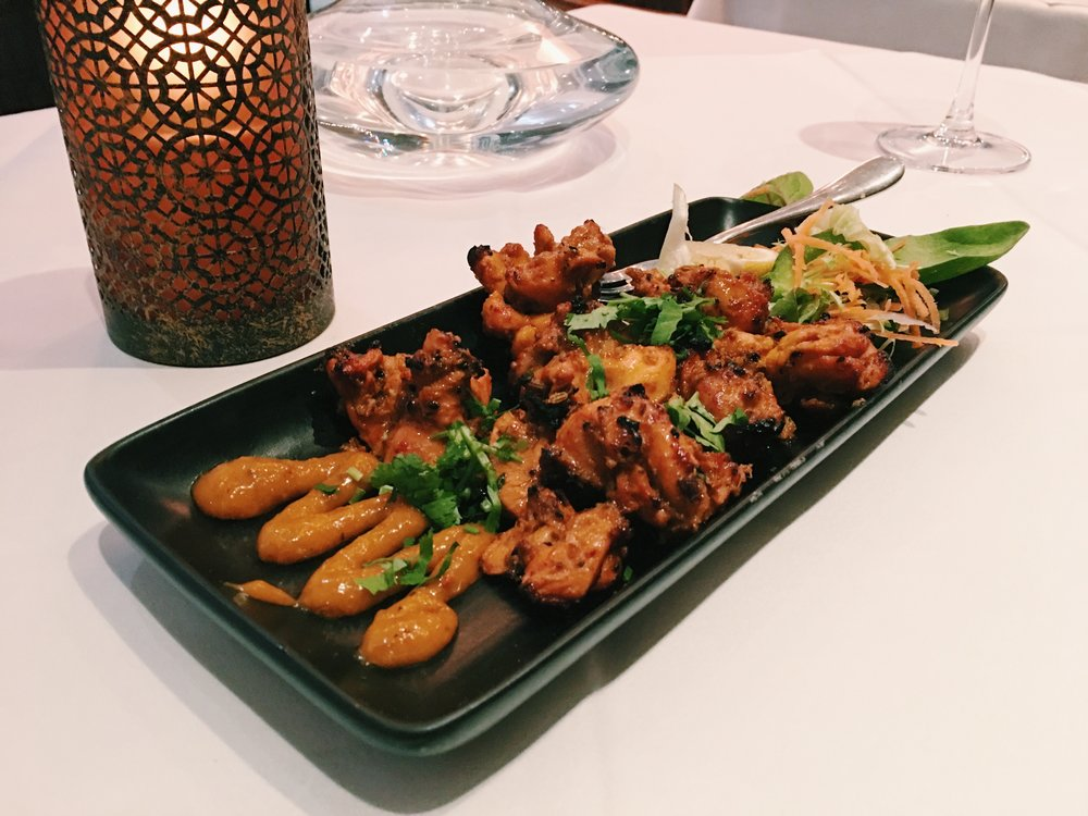 Achari Murgh (grilled chicken marinated in pickling spices) at Bombay Palace, London