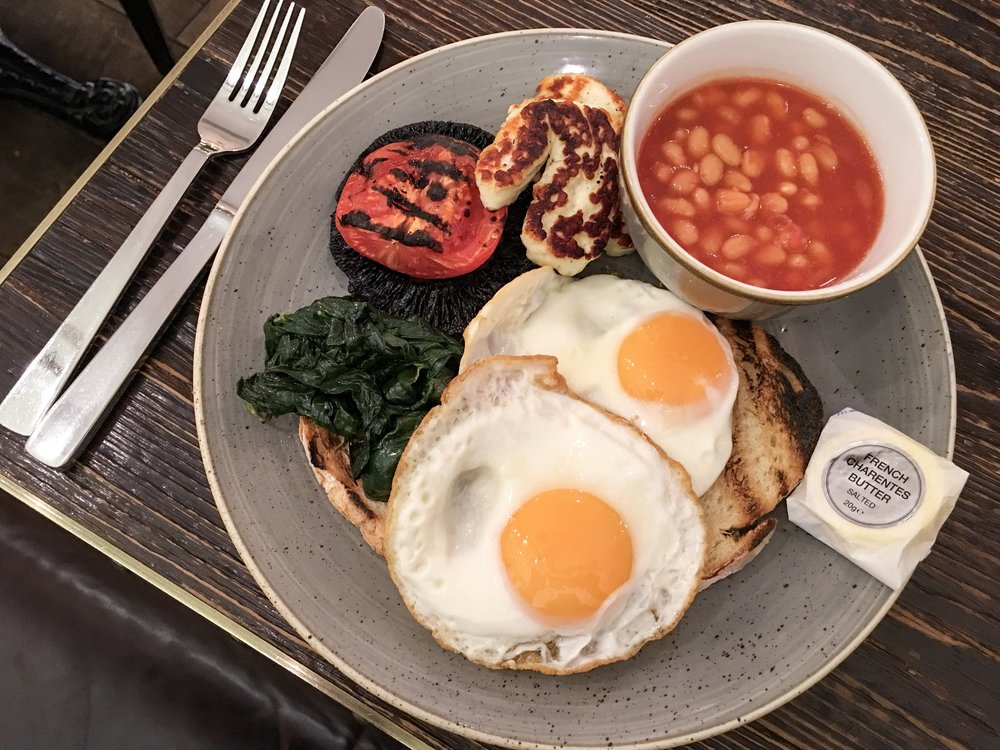 Vegetarian English Breakfast at Apero Mediterranean Restaurant at the Ampersand Hotel, London