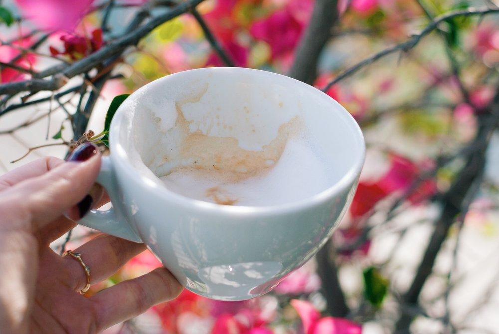 Halfway through a foamy cappuccino at Urth Caffé, Santa Monica, CA