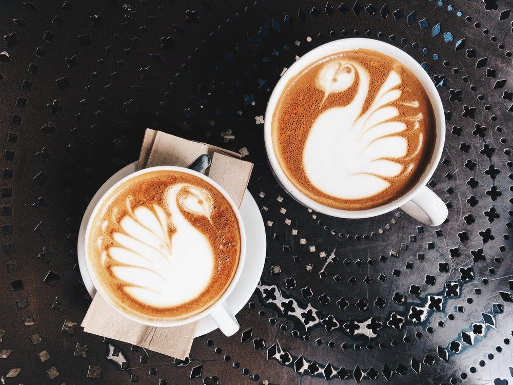 Italian Cappuccino (left) and Latte (right), Urth Caffé, Santa Monica, CA