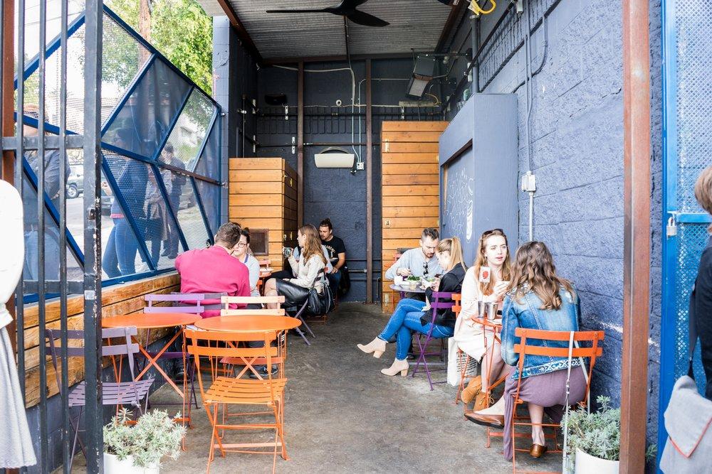 Outdoor seating at Sqirl, Silver Lake, CA