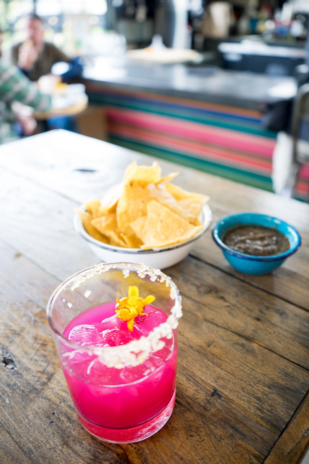 Prickly Pear Margarita and Chips and Salsa at Salazar, Frogtown, Los Angeles, CA