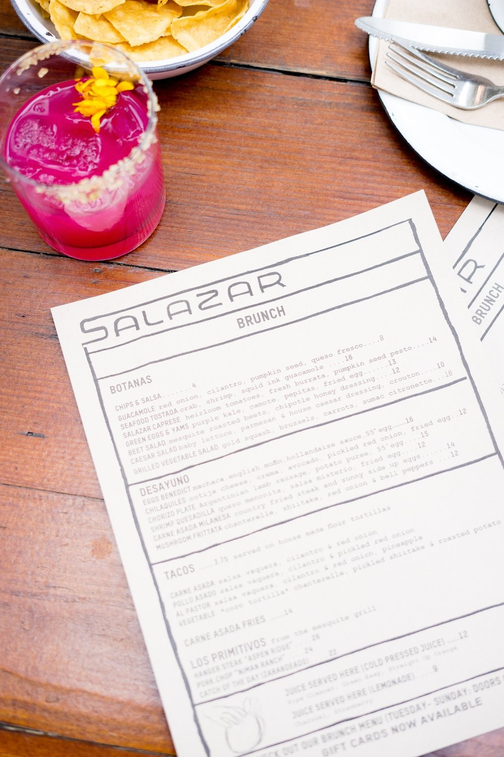 Brunch Menu at Salazar, Frogtown, Los Angeles, CA