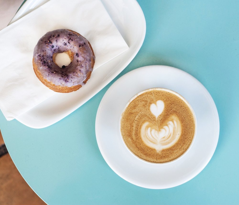 Blueberry Donut and Cappuccino atRose Park Roasters, Long Beach, CA