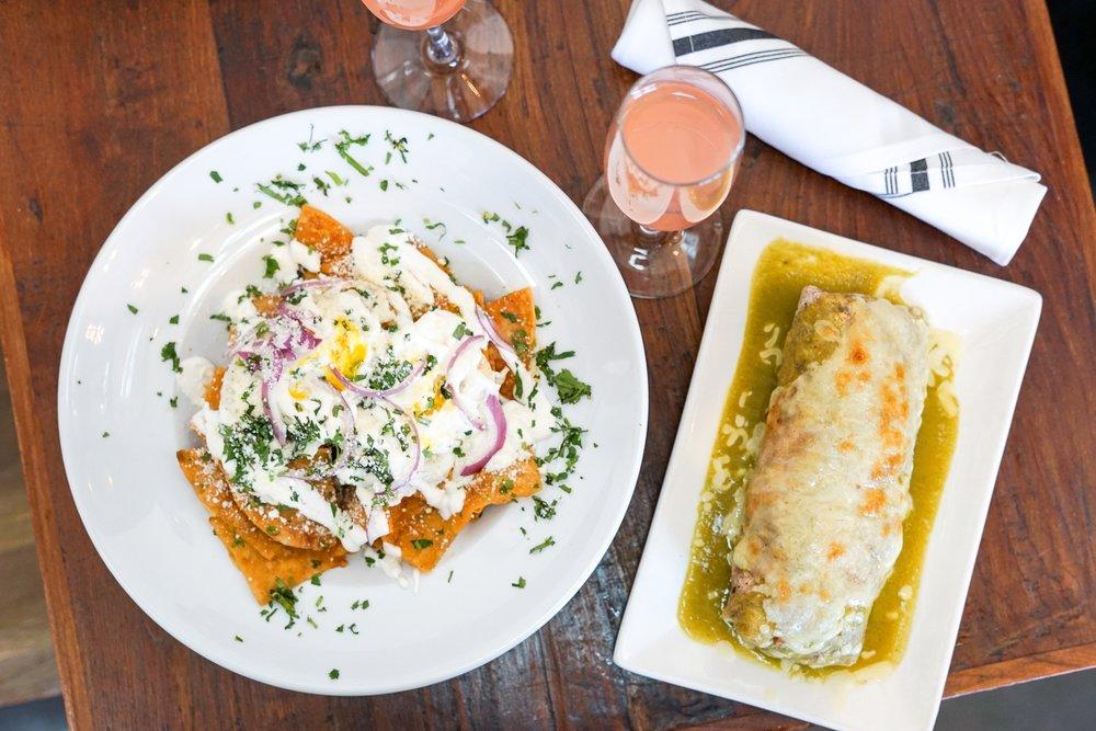 Chilaquiles and Chicken & Avocado Burrito at The Rockefeller, Manhattan Beach, CA