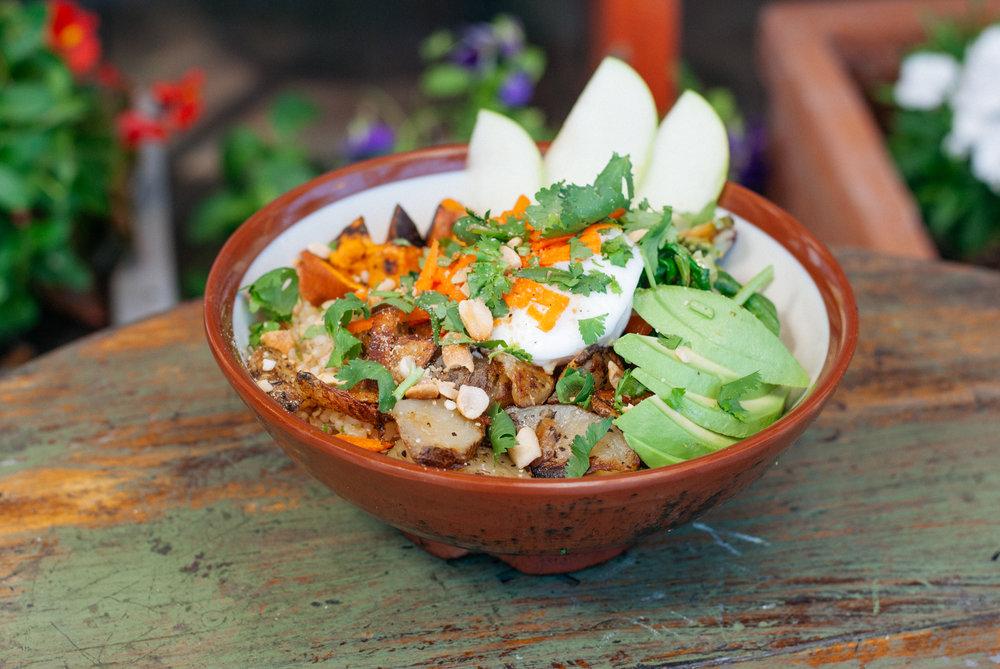 Filipino Adobo Breakfast Bowl at Tribal Café, Los Angeles, CA