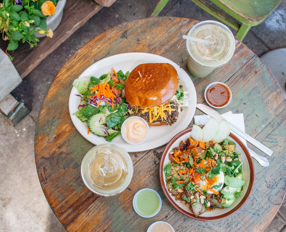Mushroom Veggie Burger and Filipino Adobo Breakfast Bowl at Tribal Café, Los Angeles, CA