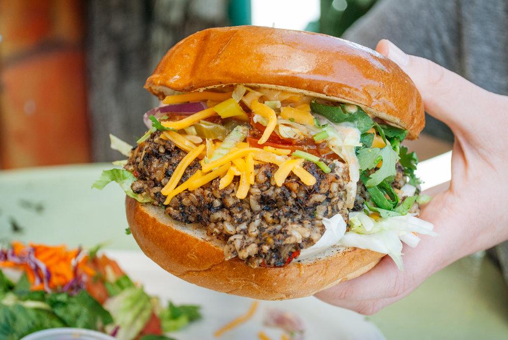 Mushroom Veggie Burger at Tribal Café, Los Angeles, CA