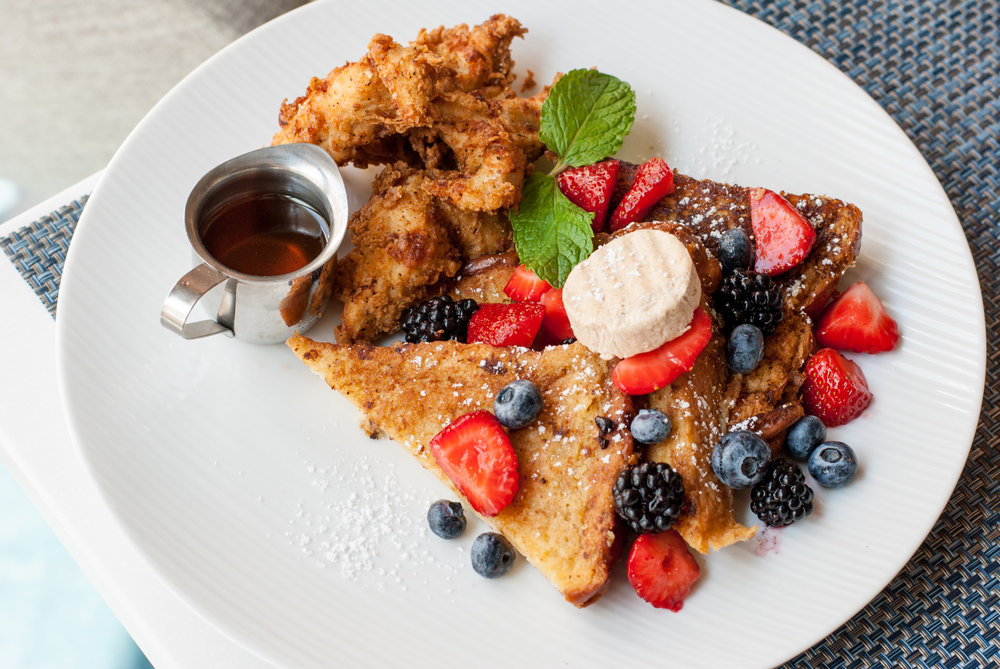 Fried Chicken & Frangelico Custard French Toast at Beachside Restaurant & Bar, Marina del Rey, CA