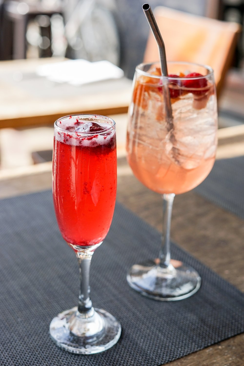 Prosecco Fizz (front) and Seasonal Sangria (rear) at Akasha Restaurant, Culver City, CA