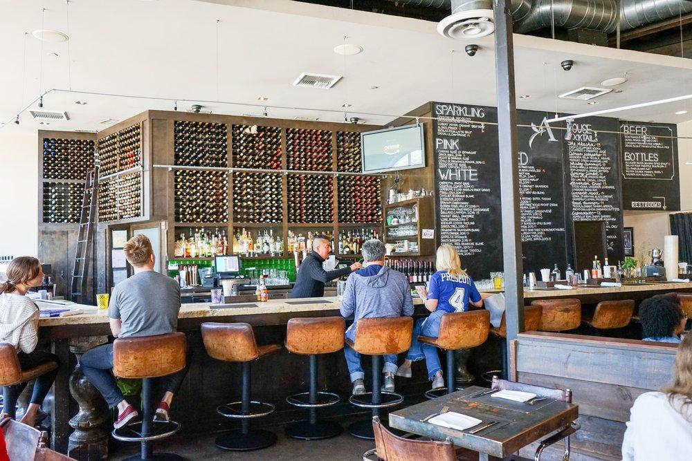 Bar area at Akasha Restaurant, Culver City, CA