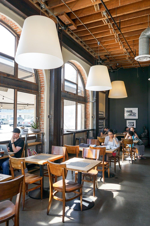 Café space at Akasha Restaurant, Culver City, CA