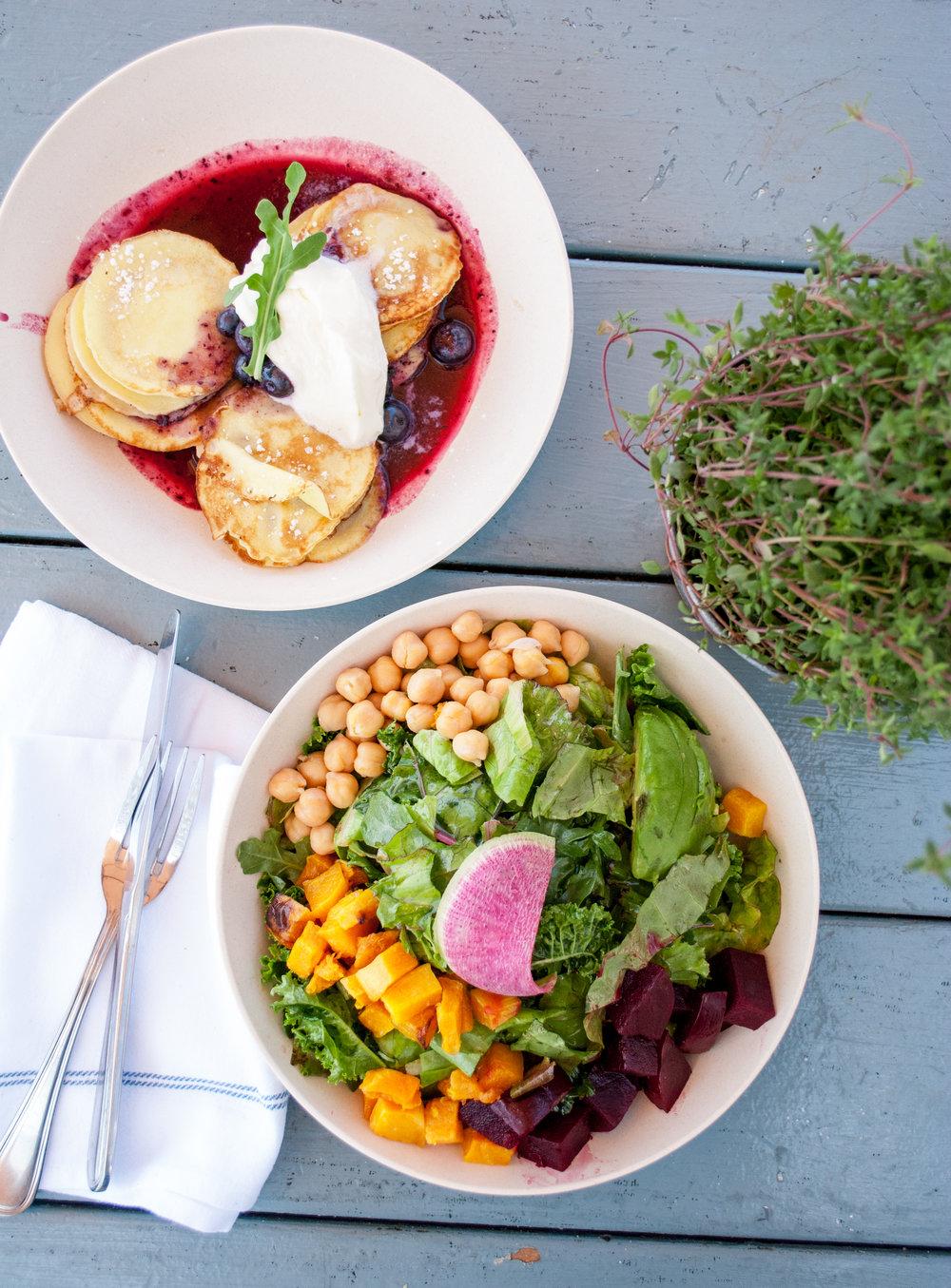Swedish Mini Pancakes + Vegan Chop Salad, Malibu Farm Pier Café, Malibu