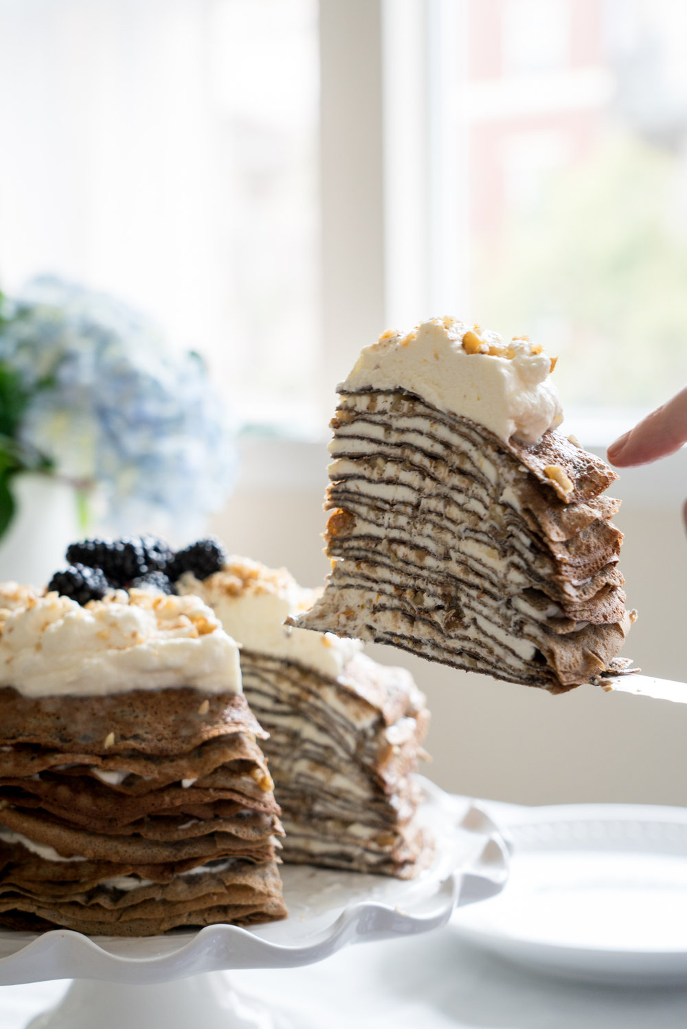 Those Layers Though... Buckwheat Crêpe Cake with Whipped Cream Cheese, Walnuts, and Honey - Brunchographers' French-Inspired Wine Tasting Brunch