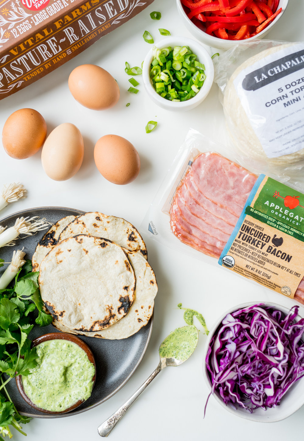 Groceries for Easy Peasy Breakfast Tacos, recipe by Brunchographers