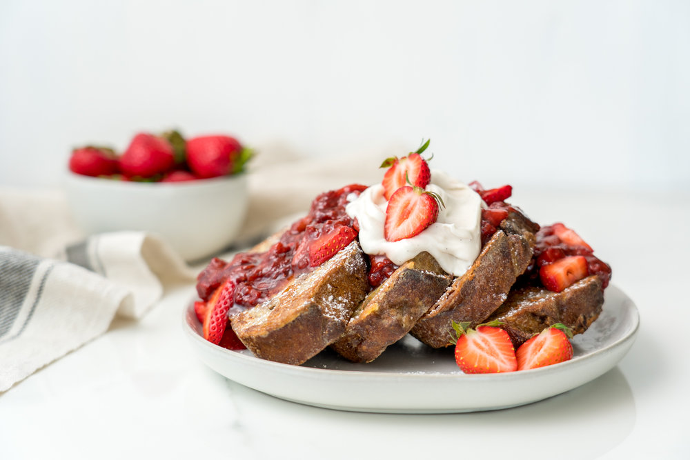 French Toast with Balsamic Strawberry Sauce, Brunchographers
