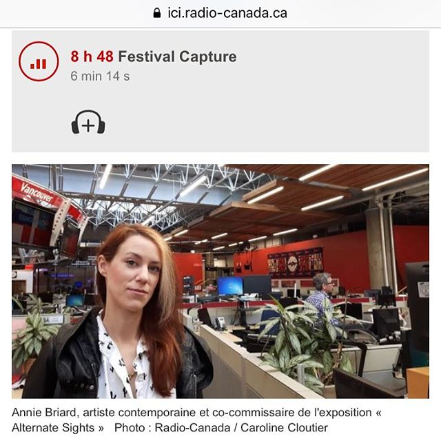 Quick radio interview en français this am sharing thoughts on curating as an #artist and highlighting the @capturephotofest exhibition #AlternateSights I co-curated with @erinsiddall with works by #scottmassey and #lenamillreuillard // Petite prestation radio ce matin sur l'expo Alternate Sights que j'ai co-commissarié avec Erin Siddall. @cbcradiocanada @backgalleryproj