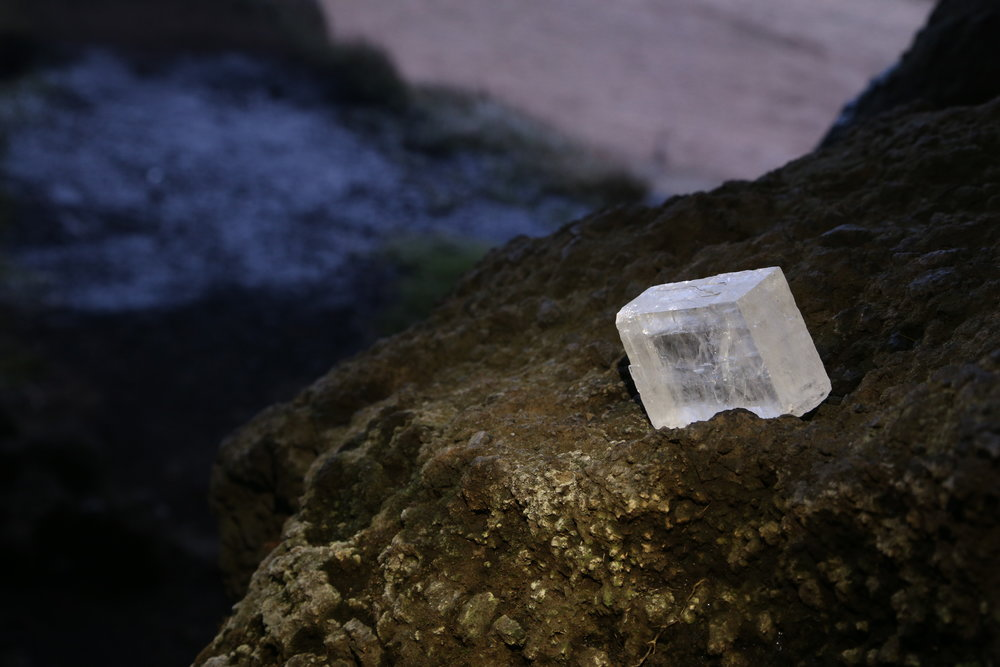 Iceland spar (optical calcite) tested within unmarked cave.