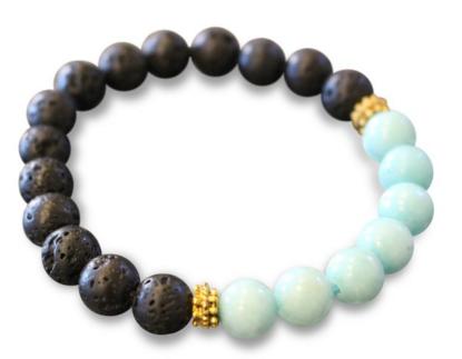 Diffuser Bracelet, Lava Rock + Amazonite