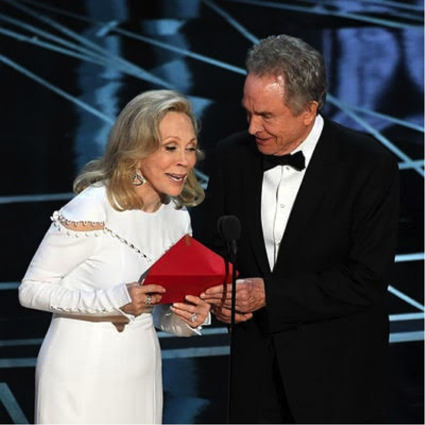 Hollywood heavyweights Faye Dunaway and Warren Beatty were given the wrong card when presenting best picture last night at the Oscars.  Instead of calling out the mistake -- the 79 year old actor passed the card to his co presenter. Which Faye proceeded and guessed the winner... the wrong winner that is!!   Congrats on Moonlight for really winning best picture last night! What does my OMGOSSIPERS think of the major flub?