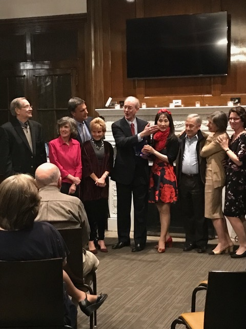 Ridgewood Arts Foundation trustees present Parlance Chamber Concerts with their 2017 Ridgewood Arts Foundation Honors award.