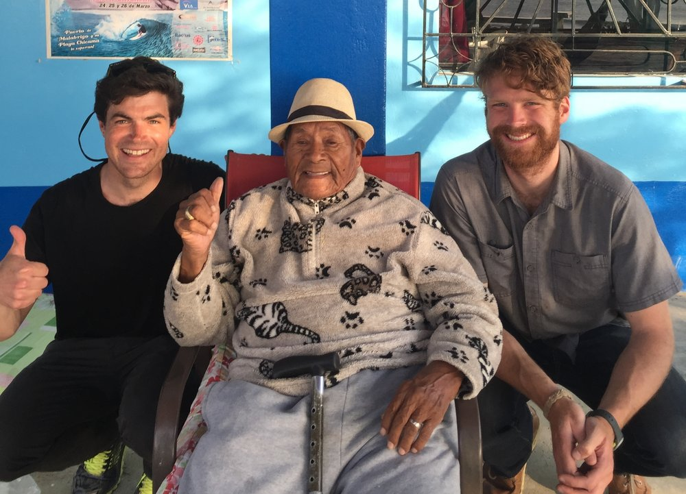El Hombre, Pioneer of Chicama Surfing, pictured between Kevin (left) and Russell (right) at El Hombre Surf Hostel.