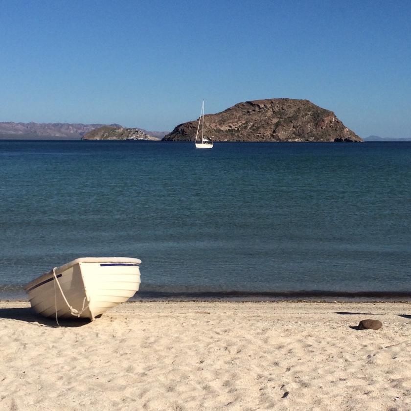 Serafina anchored off Isla Coronado, the last island in Bahia Loreto. Photo by Eliza Drummond.