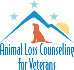 The Animal Loss Counseling for Veterans logo- a dog looking up at the stars with mountains and a rising sun in the background