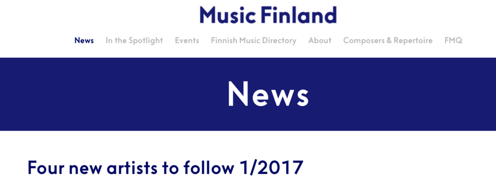MUSIC FINLAND 27.02.2017 - Music Finland included Axel as one of the Finnish artists to follow in 2017.