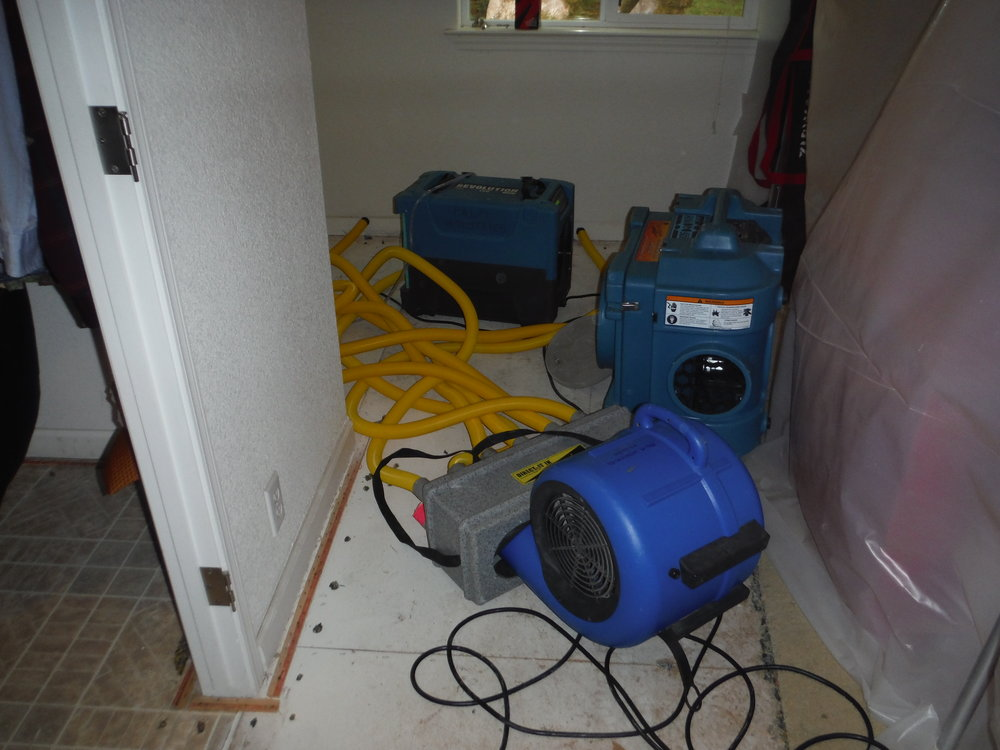 Use of air-movers and dehumidifiers speeds the drying process of home that has experienced water damage.
