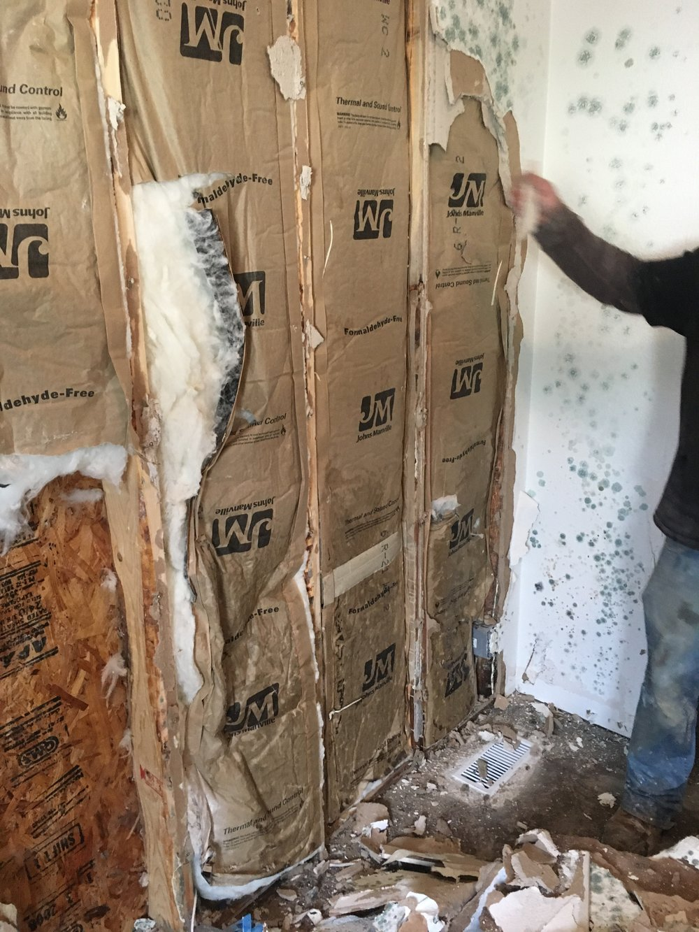 In larger mold remediation projects, all of the drywall and insulation must be removed and replaced.