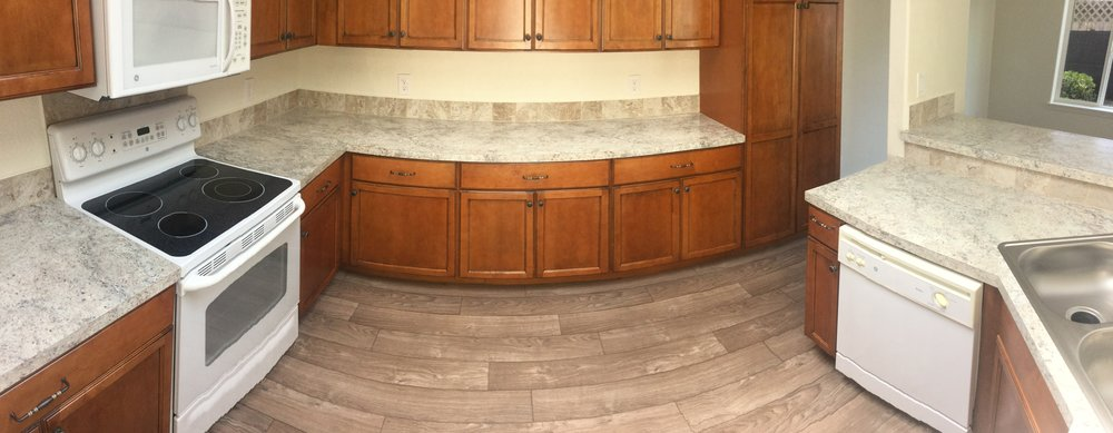 A panoramic of the remodeled kitchen.