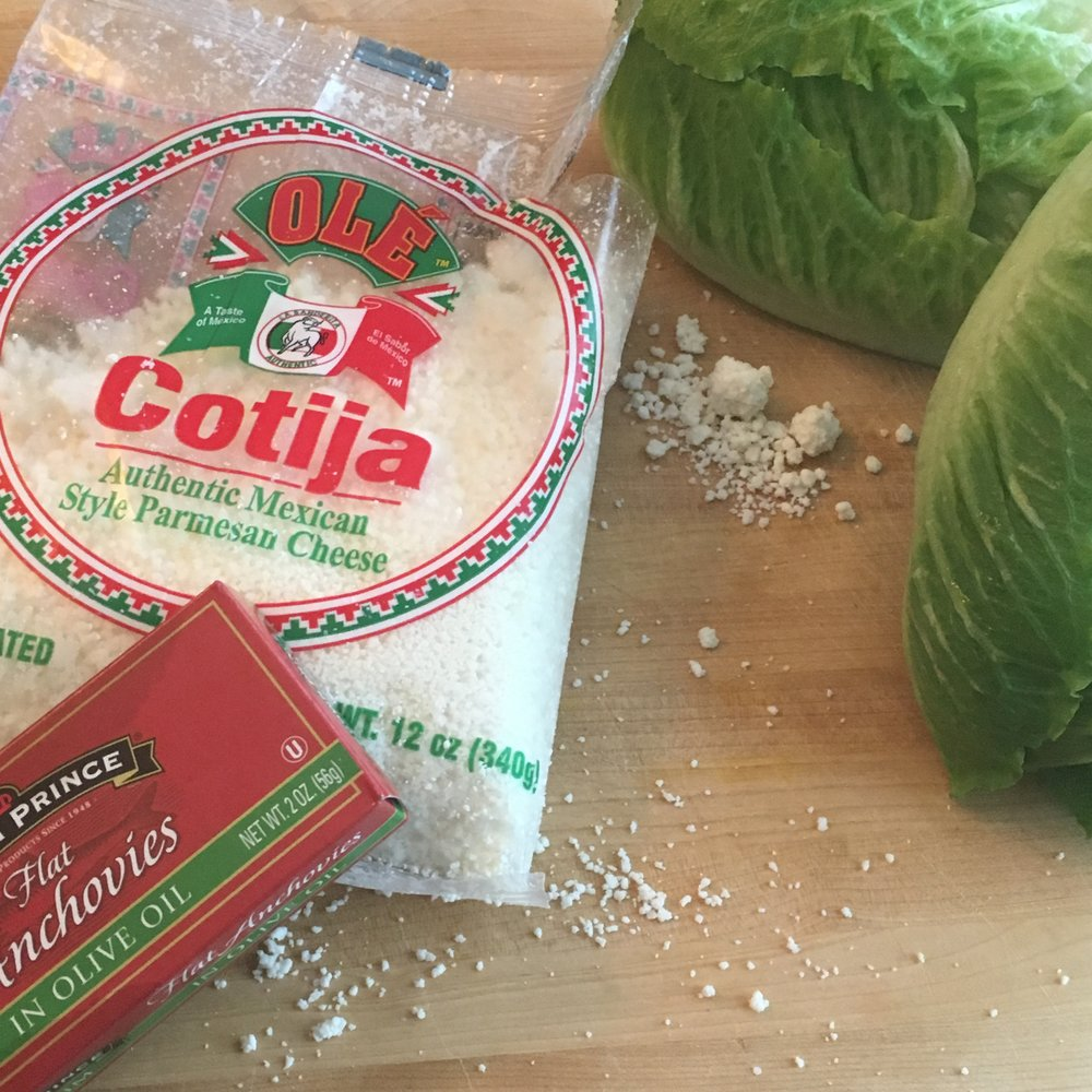 A hint about one of the changes we plan to make to the classic Caesar: Mexican cotija cheese (like what we use with our elote) instead of Parmesan.